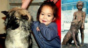 Deklica in psička, ki sta preživeli 11 dni v sibirski divjini, dobili svoj kip